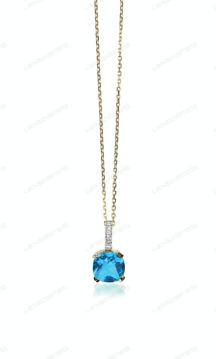 Blue topaz aquamarine diamond necklace with chain