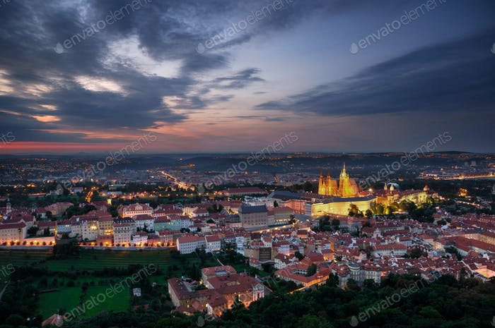 Aerial view at St. Vitus Cathedral, Prague, Czech republic.