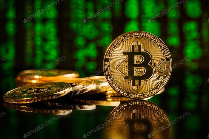 Golden bitcoins. Cryptocurrency .