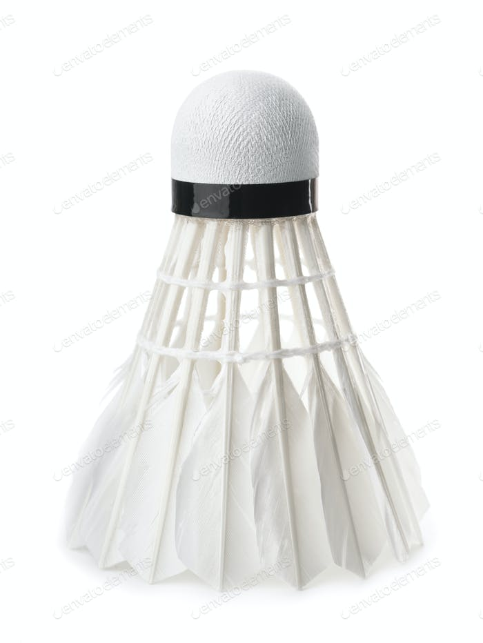 White badminton feather shuttlecock
