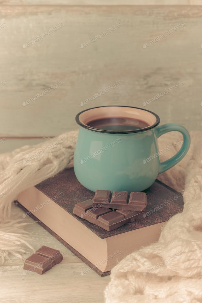 cup of coffee with book