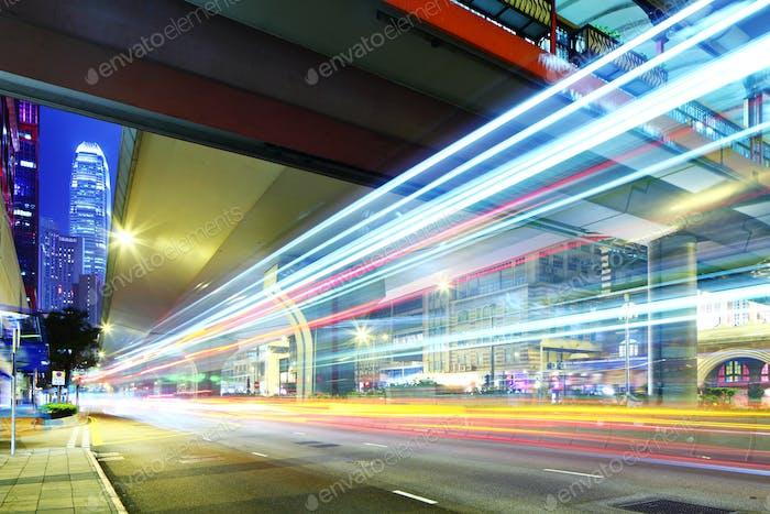 Traffic car light on roadway in city