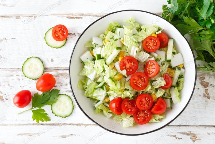 Healthy vegetable salad of chinese cabbage