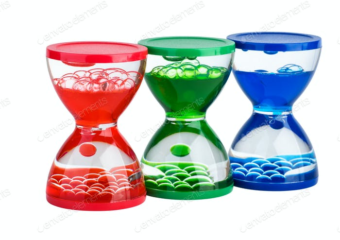 Three gel hourglasses