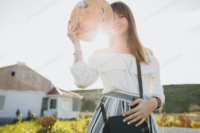 beautiful stylish woman, spring summer fashion trend