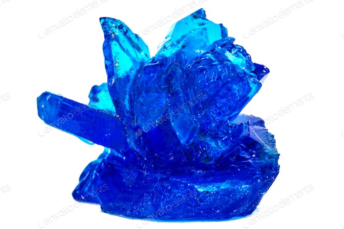 Blue crystals of vitriol, Copper sulfate, isolated on white back