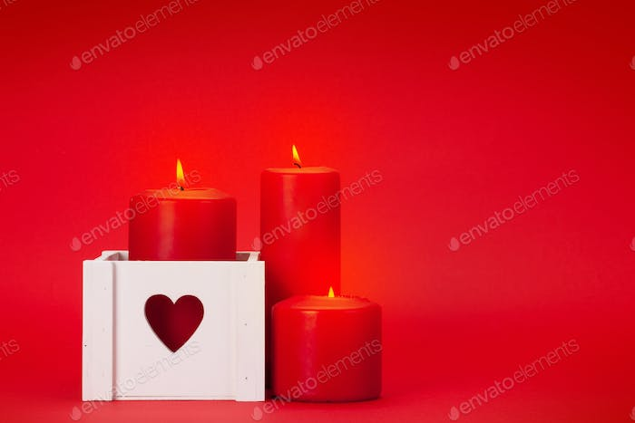 Valentines day greeting card with candles