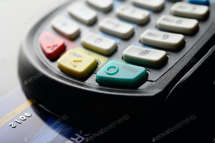 Credit card reader, selective focus