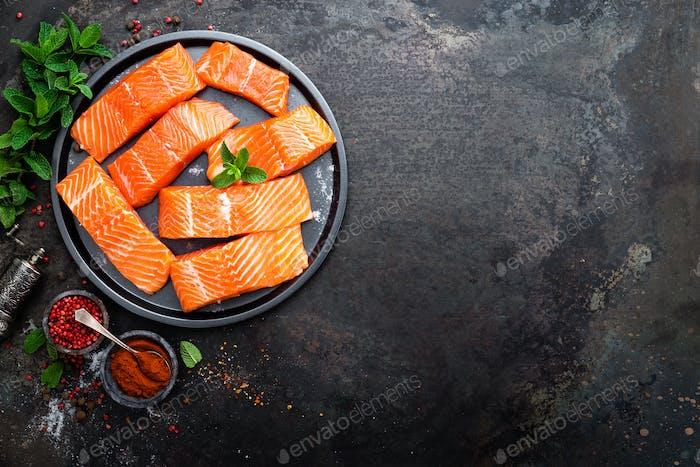 Salmon. Fresh salmon fish. Raw salmon fish fillet. Sea food