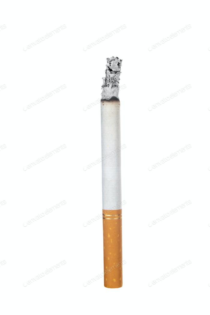 Burning cigarette on white