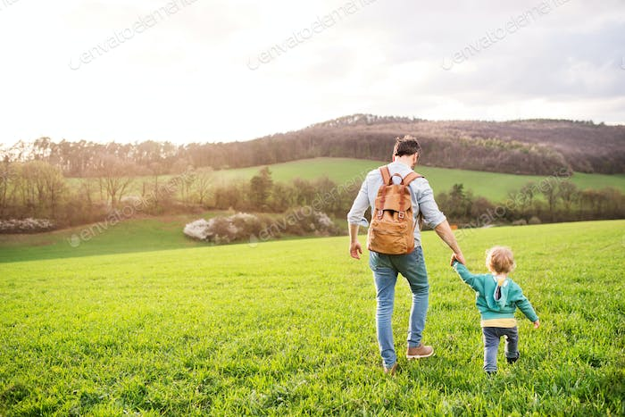 A father with his toddler son on a walk outside in spring nature.