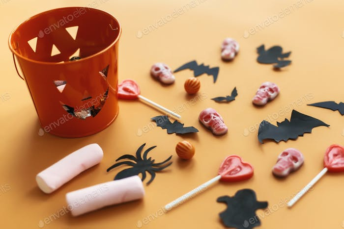 Halloween Jack o Lantern, bucket with holiday candy