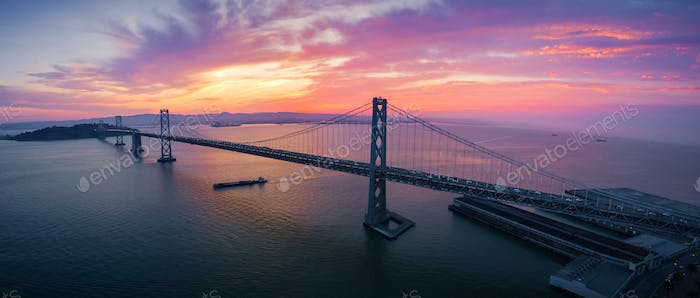 San Francisco-Oakland Bay Bridge at Sunrise