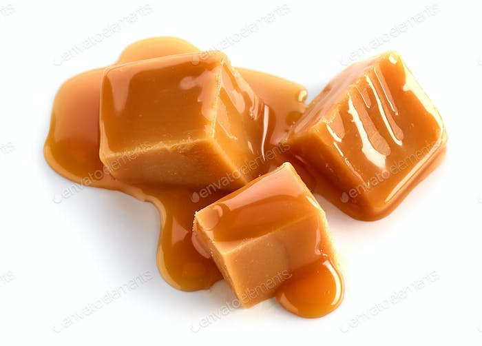 caramel pieces on white background