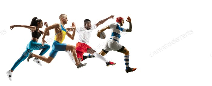 Young caucasian sportsmen running and jumping on white background