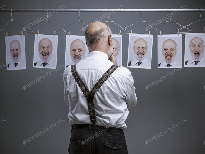 Senior businessman and his multiple expressions and personalitie