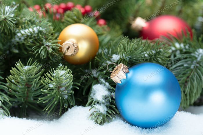 Christmas decoration with bunch of fir tree
