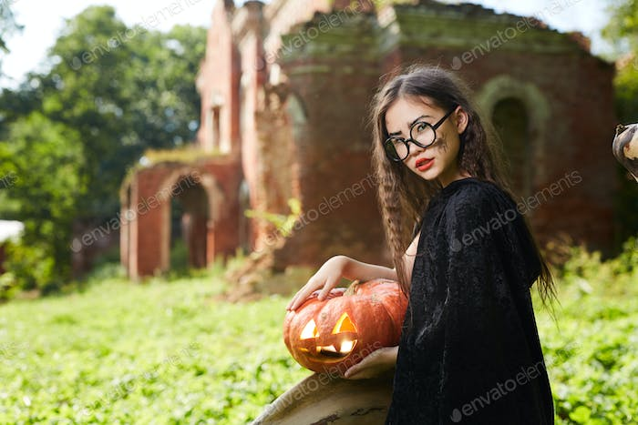 Teenage Girl Posing on Halloween