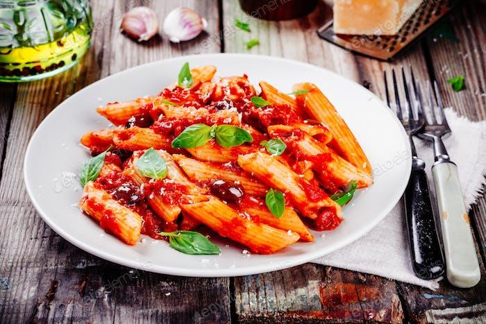 Italian penne pasta with tomato sauce