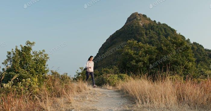 Woman walk on the mountain