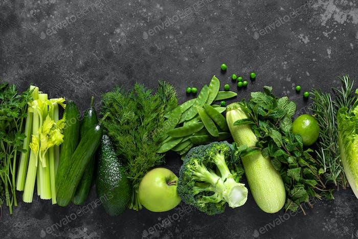 Healthy food, fresh raw green organic fruits and leafy vegetables