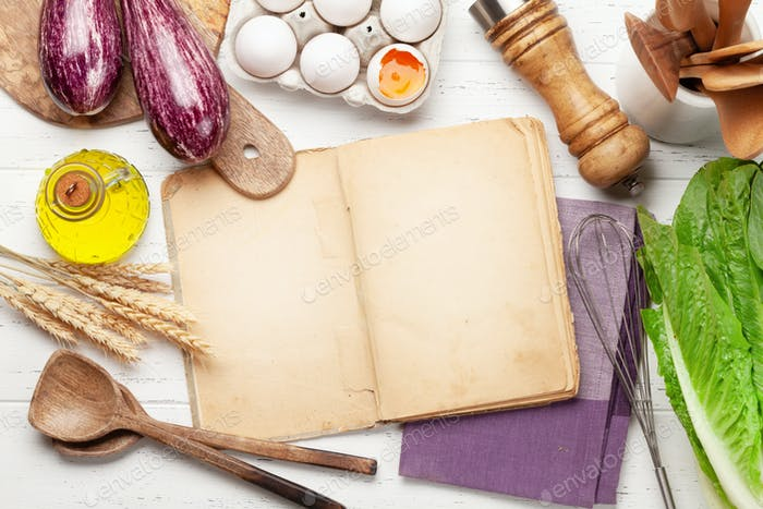 Cooking utensils, ingredients and cookbook