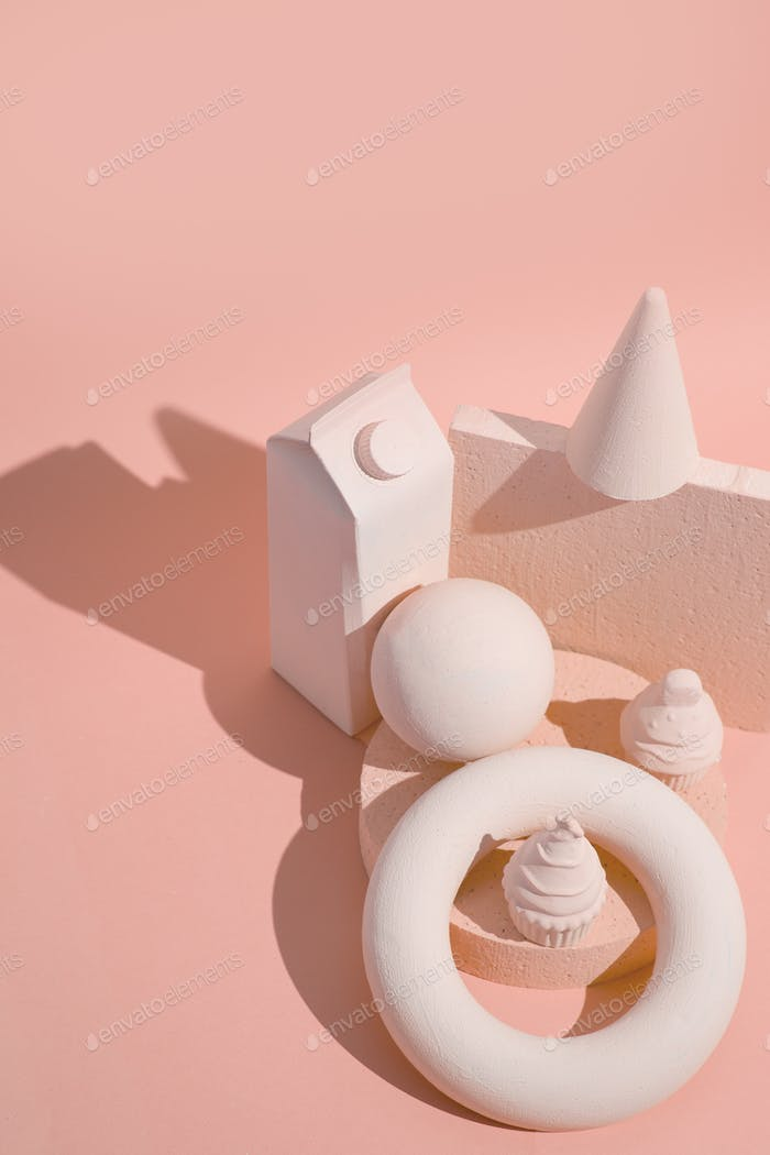 Abstract geometry figure and minimal objects. Pink trendy monochrome colours design
