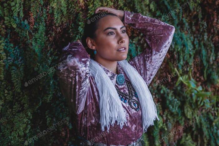 Navajo Woman in Traditional Dress in Northern Arizona