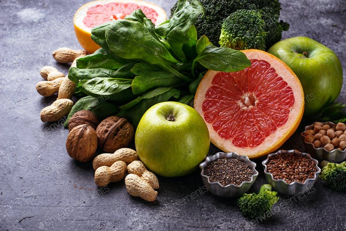 Vegetables, fruits, seeds  and nuts