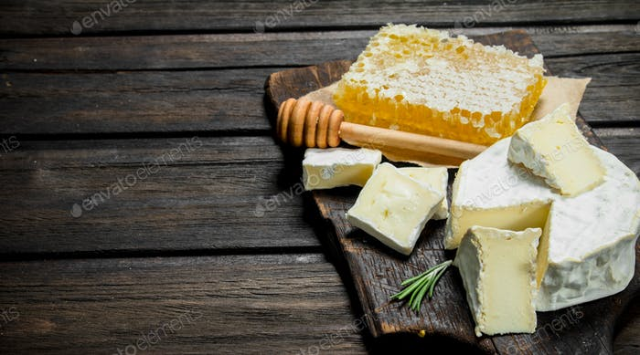 Brie cheese with honey comb.