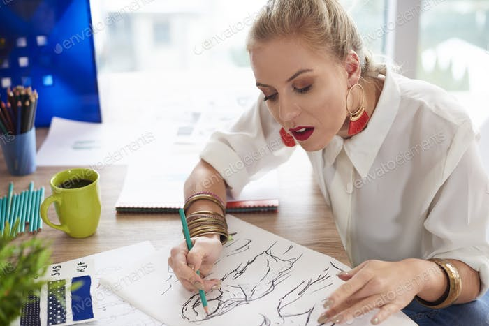 Woman committed her concepts onto paper
