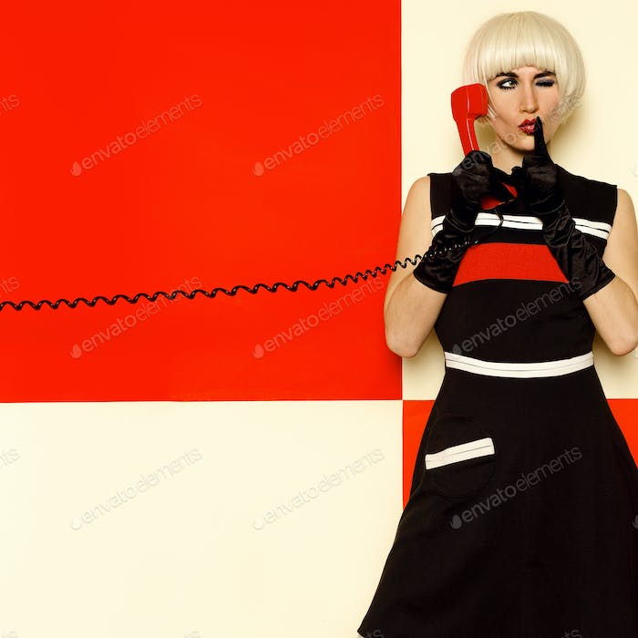 Blonde Lady retro style with vintage telephone Minimal Fashion