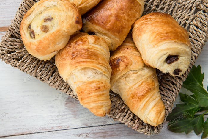 Freshly Baked French butter Pastries in the Basket