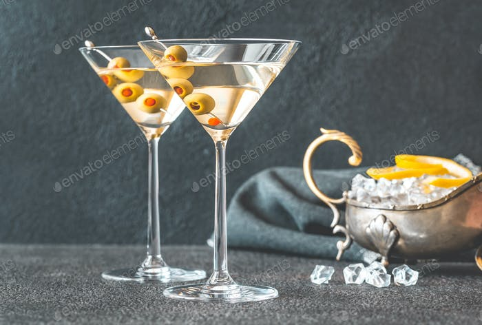 Two glasses of martini cocktail