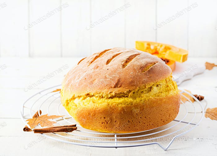 Fresh homemade pumpkin bread and pumpkin slices.