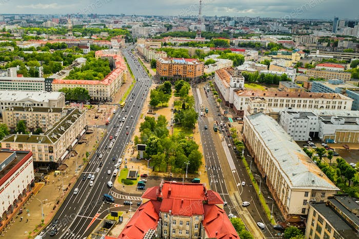 Top view of the historical center of Minsk and Yakub Kolas Square.Old town in the center of Minsk