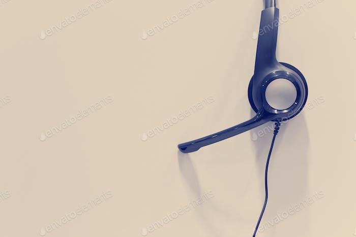 Headphones in empty call center office