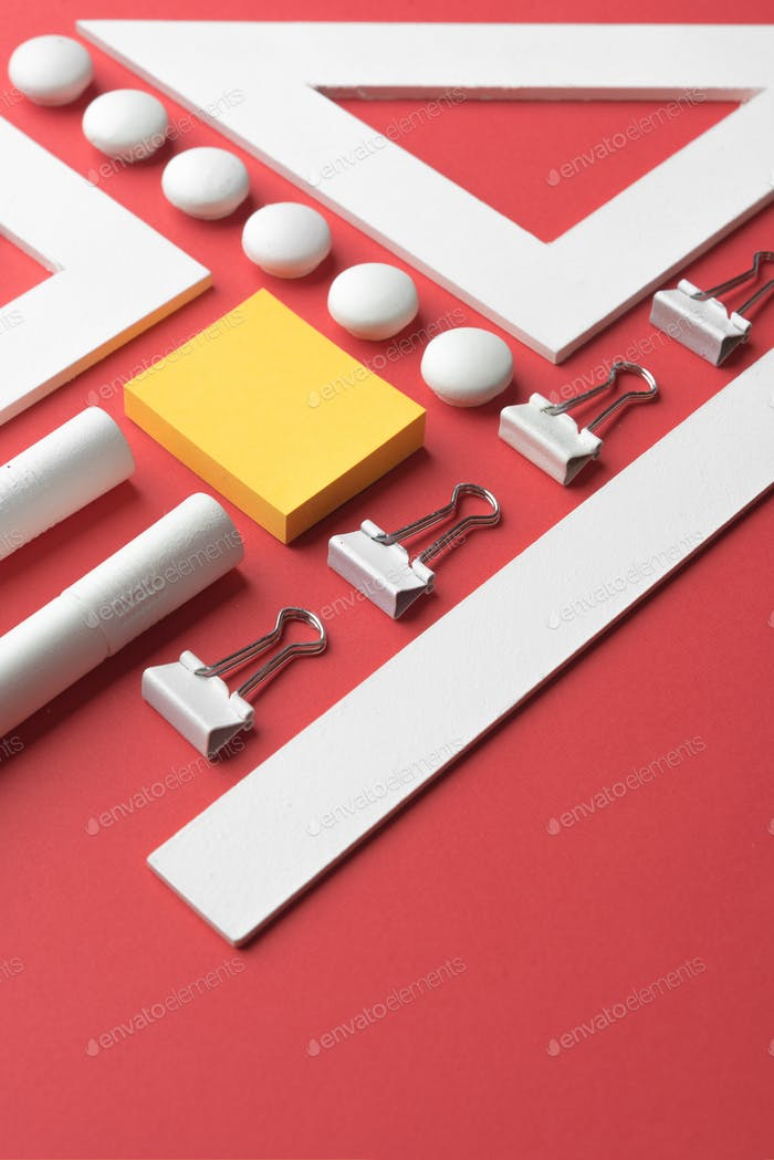 Office supplies on the red background table