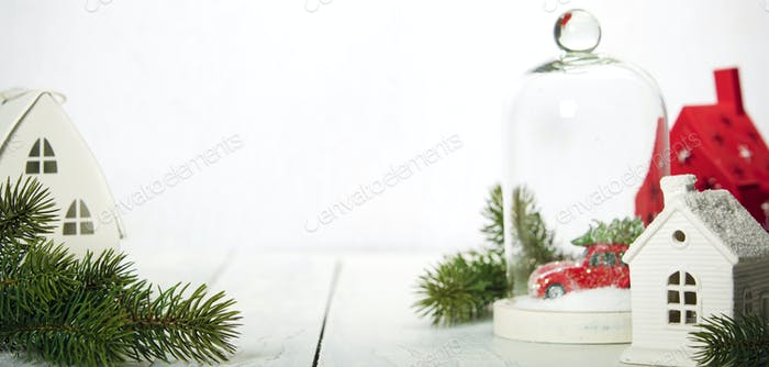 Christmas decoration on wooden background, space for text