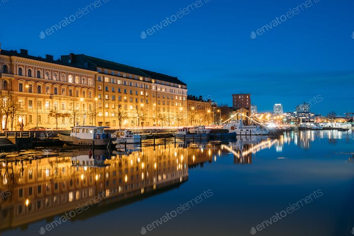 Helsinki, Finland. View Of Pier With Boats And Pohjoisranta Stre