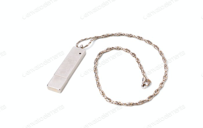 Flash usb drive with metallic chain.