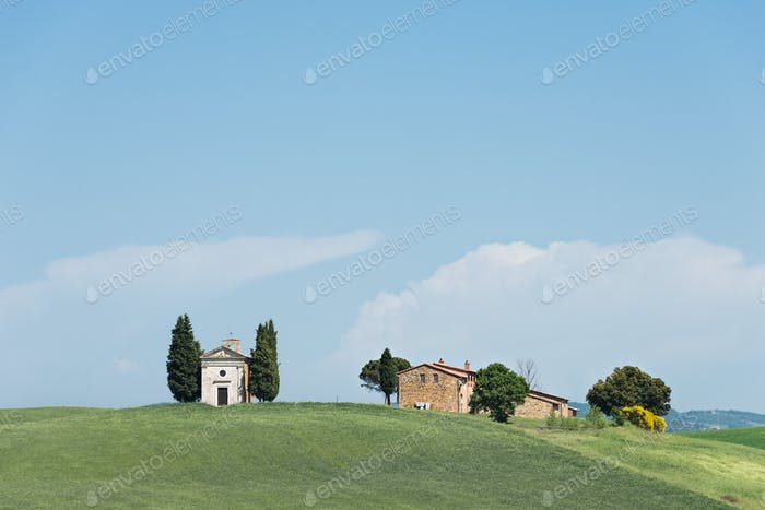 Vitaleta church in a Tuscany landscape