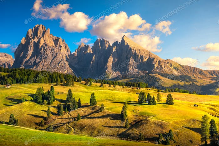 Alpe di Siusi or Seiser Alm and mountains, Dolomites Alps, Italy