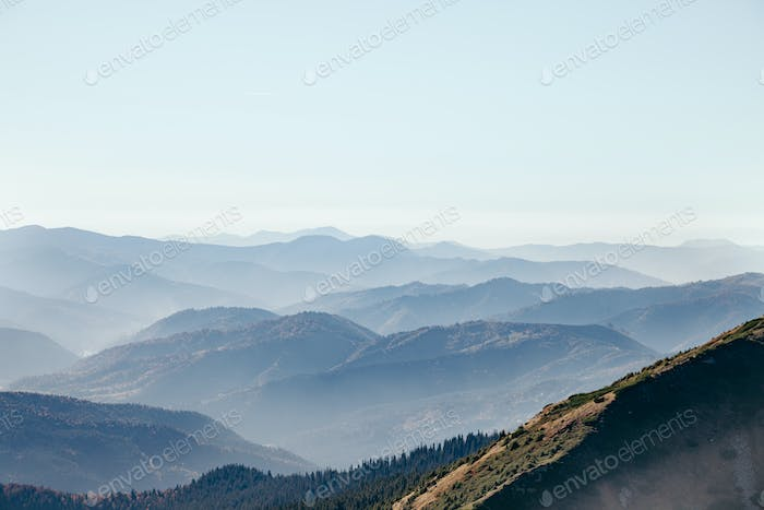 aerial view of beautiful hazy mountains landscape, Carpathians, Ukraine