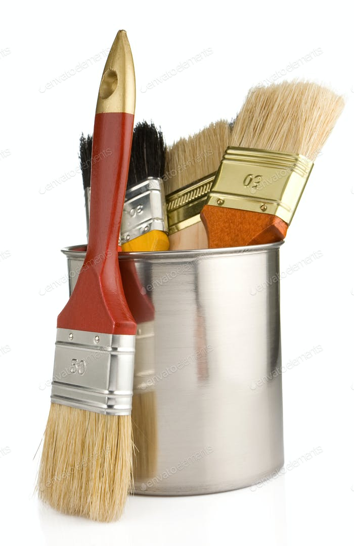 paint buckets and paintbrush isolated on white