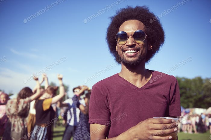 Happy African man on the party