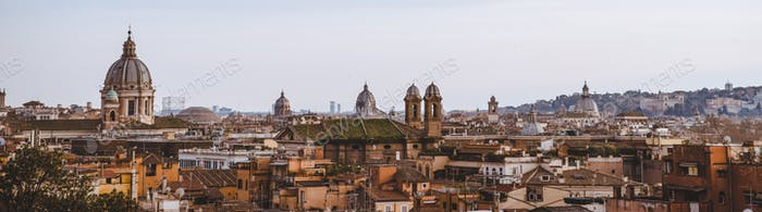 panorama view of St Peters Basilica and buildings in Rome, Italy