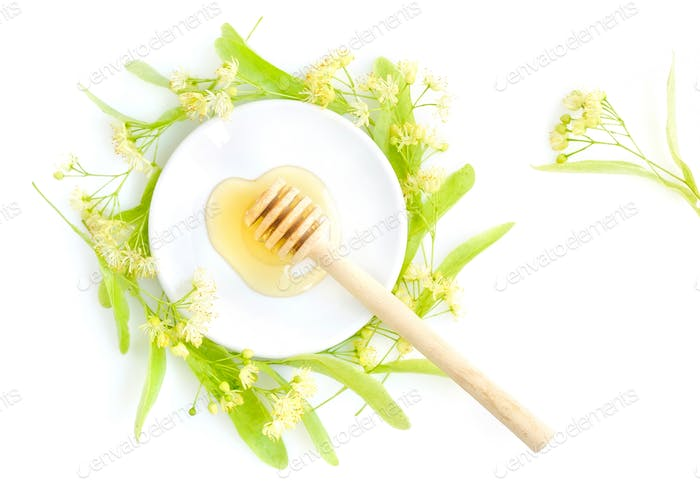 Honey dipper with honey with flowers of linden on white saucer,