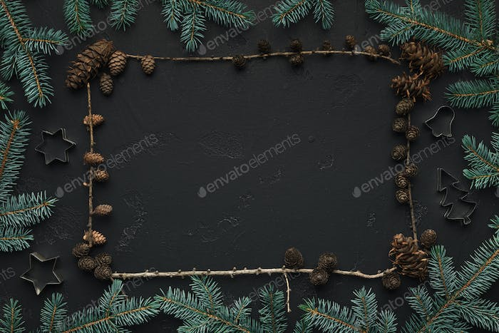 Christmas background with fir tree and cones