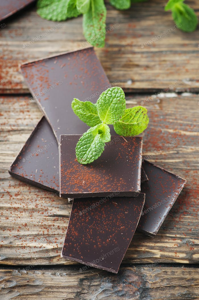 Dark healthy chocolate with green mint